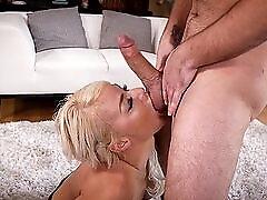 Bleach blonde slut gets face fucked by her man