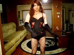 Sexy redhead crossdresser