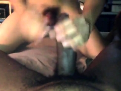 Asian twink deepthroats a black dick and takes it up his ass