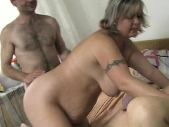 Nasty old woman goes crazy sucking
