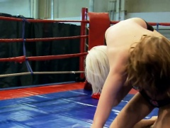 Lesbian babe wrestles and gets queened