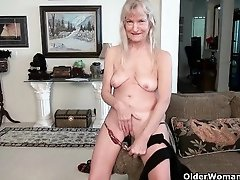 Grannies Claire and Penny give their pantyhosed old pussy a much needed treat