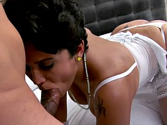 Milf hairy mature short hair gets her big boobs jizzed