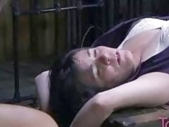 Plump slave girl tied up and humiliated by mistress BDSM