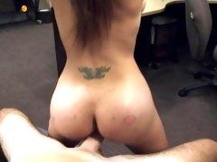 Broke tattooed ebony riding cock for cash
