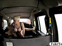 Short blonde hair babe banged by fake driver in the cab