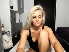 Russian solo blonde webcam girl fisting her pussy