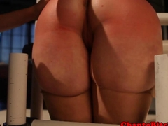 Lezdom blonde submissive gets spanked