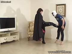 Domina kicks slave crotch without mercy.