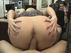 Chubby Blonde Riding Dick On The Floor Of Pawn Shop Office