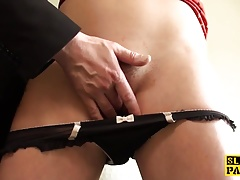 Busty british sub spunked in mouth by maledom