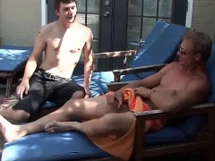 Hot gay gets mouth fucked and gets cumshot