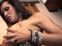 Bigtitted latina tranny jerking off