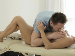 Sexy client pounded by pervert masseur on massage table