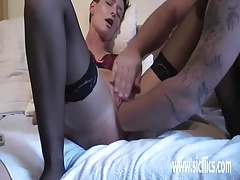 Double fisting her cavernous loose pussy