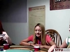 Hot and sexy coeds plays poker game in a naughty manner and gets fuck
