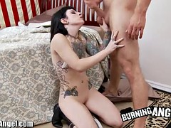fucking slut gets all the jizz in her mouth