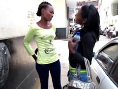 two amateur slutty ebony lesbian chicks pleasure one another in a bathroom