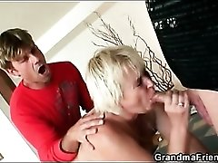 Spit roasted granny chick in threesome video