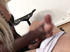 blonde fem dom face sits on guy while whipping
