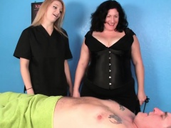 Busty masseuse duo in bdsm action with fatman