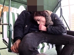 Cock starving brunette gives a fabulous blowjob in public