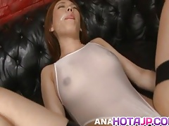 Rei gets cum on face after is aroused and fucked with vibrat