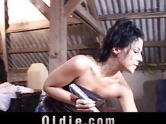Pervert horny girl leaves old dodderer nail her as