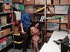 Flat chested Asian girl fucked and punished for shop lifting
