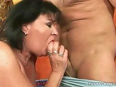 Busty fat grandma getting fucked hard