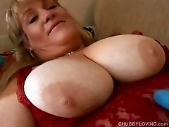 Beautiful blonde BBW has nice big tits