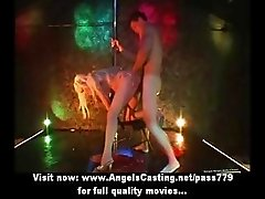 Hot blonde dancer fucked in striptease bar and has cumshot on face