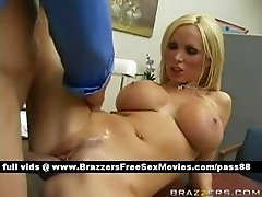 Busty naked blonde slut on the desk gets her pussy fucked