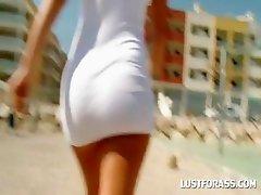 Brunette shows awsome butt upskirt