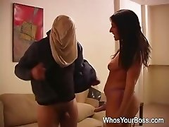 Attractive femdom toying and fucking a submissive guys butthole