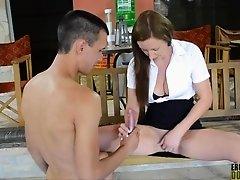 After finding that slave has no cock to fuck with, incredible Lara Latex wanks herself off by using him She has to teach him that how to dildo an Engl