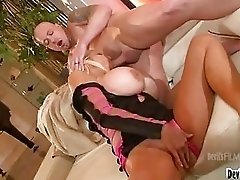Sexy tanned blonde with huge breast doing titjob