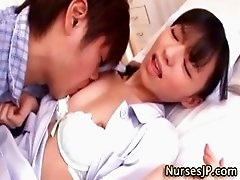 Asian nurse babe with hairy pussy