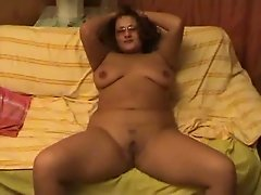 Horny Fat Chubby Ex GF playing with her Shaven Pussy