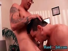 Tattooed foureyes gets asshole fucked part5