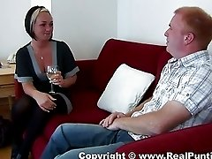 European chick shows her pussy after some wine