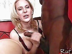 Sexy chocolate stud gets his dick sucked by two blondes