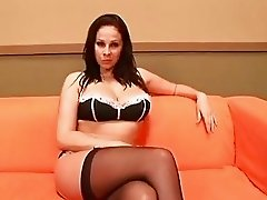 Juicy jugs Gianna Michaels wraps her lips round a hard cock and toys her tits
